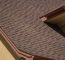 A close up view of newly placed roof shingles