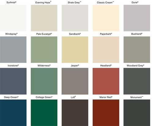 metal roof colours
